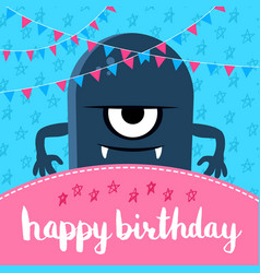 happy birthday with cute vector image vector image