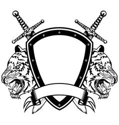 head of tigers board and swords vector image vector image