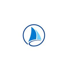 sail boat yacht logo vector image vector image