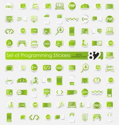 Set of programming stickers vector