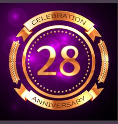 twenty eight years anniversary celebration with vector image