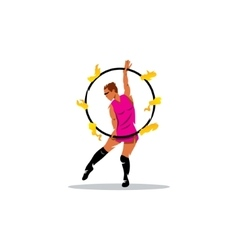 Fakir show sign Girl with flaming hoop vector image