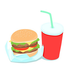 hamburger and soft drink vector image
