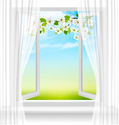 nature background with open window and spring vector image