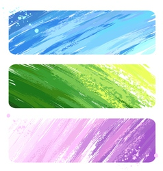 Three painted banner vector