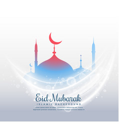 awesome eid festival background with mosque and vector image vector image