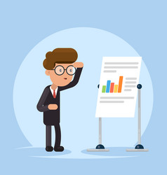 Businessman or manager look to flip chart concept vector