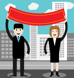 Man and woman hold red banner vector image