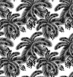 Seamless black and white palm leaves and fru vector image