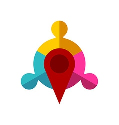 Meeting point logo template Map pointer with team vector image vector image