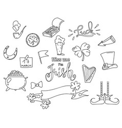 outline elements for the irish st patricks day vector image