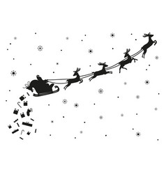 santa claus flying with deer silhouette vector image