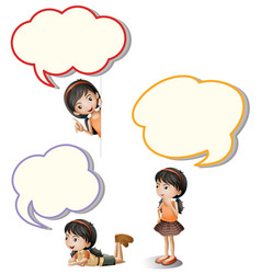 speech bubbles and little girl vector image vector image