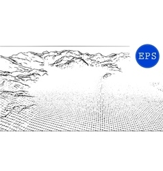 Abstract mountain cyberspace grid vector image