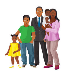 Afro-american happy family parents and three vector