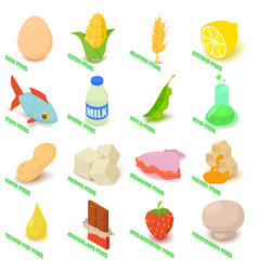 Allergy free icons set food isometric style vector