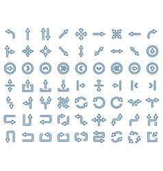 arrow icon set in flat style symbols vector image
