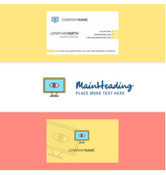 beautiful eye logo and business card vertical vector image
