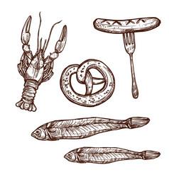 beer snacks sketch icons vector image