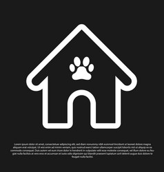 Black dog house and paw print pet icon isolated vector