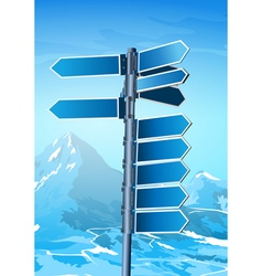 Blank signpost on winter background vector