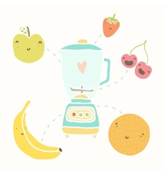 Blender and funny fruits vector