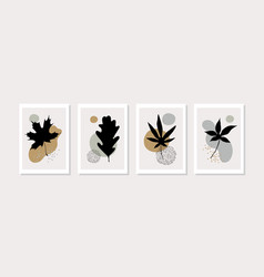 botanical wall art set with abstract geometric vector image