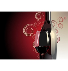 Bottle and glass of red wine vector