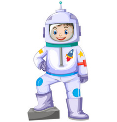 Boy in spacesuit smiling vector