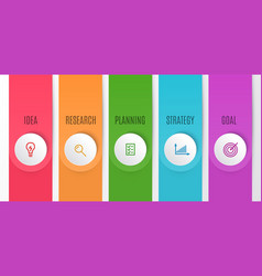 business infographics chart timeline with 5 steps vector image