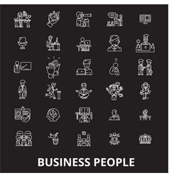 business people editable line icons set on vector image