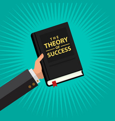 businessman hold theory success book in vector image