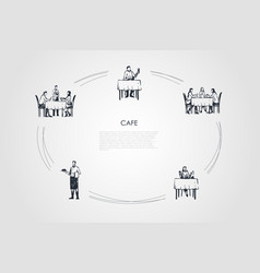 cafe - people having dinner in restaurant and vector image