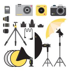 camera photo studio icons optic lenses vector image