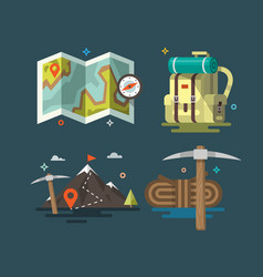 Camping set of camping equipment symbols vector