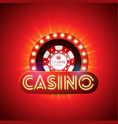 Casino with neon light letter and vector