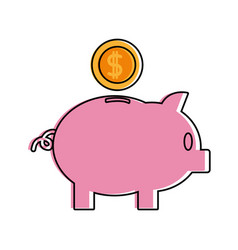 Color piggy to save money and coins with peso vector
