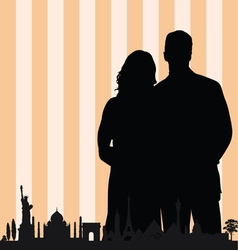 couple with famous monument color vector image