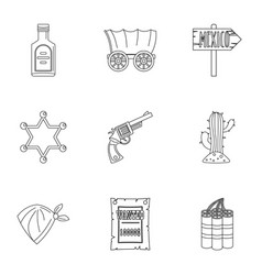 Cowboy icon set outline style vector