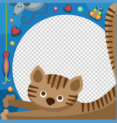 Cute happy birthday cat photo frame birthday vector