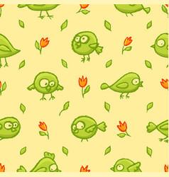 Cute little birds seamless pattern vector