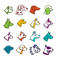 Dog icons doodle set vector