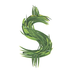Dollar sign from grass vector image