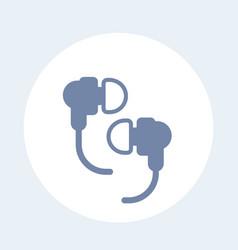 earbud headphones icon on white vector image