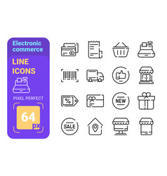 Electronic commerce line icons set vector