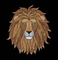 Embroidery lion head vector