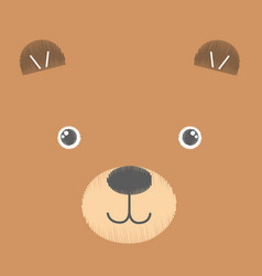 embroidery of brown toy teddy bear vector image