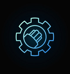 Fiber optic cable in gear blue linear icon vector