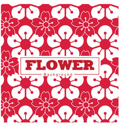 flower sakura pattern white and red background vec vector image