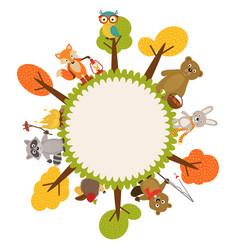 Frame with animals forest vector